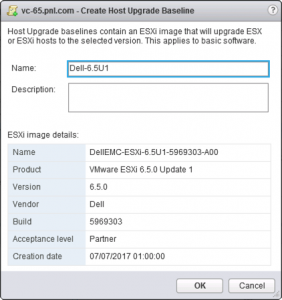 vSphere Create Host Upgrade Baseline