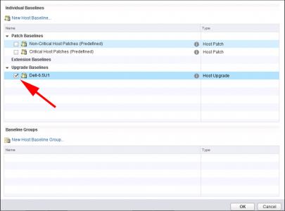 vSphere Attach Host Upgrade Baseline