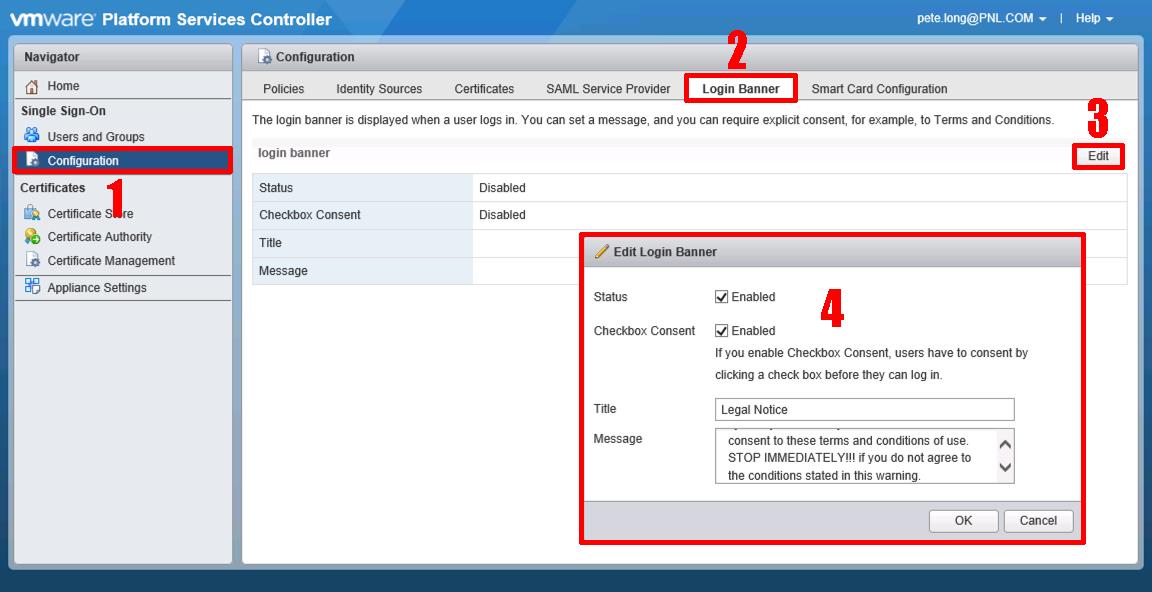 VMware vSphere and ESXi - Create a 'Logon Banner' | PeteNetLive