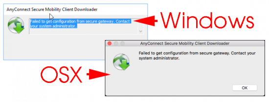Failed to get configuration from secure gateway