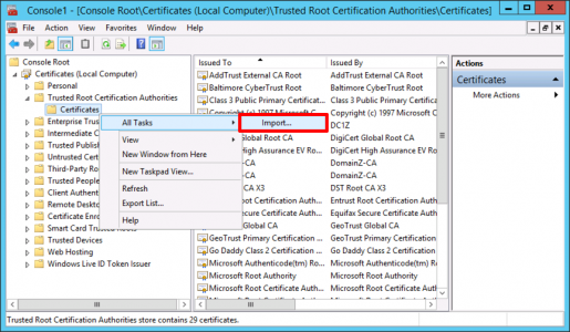 Import Trusted Root Cert