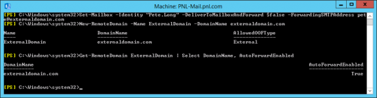 Exchange 2016 PowerShell Enable Forwarding SMTP ALL