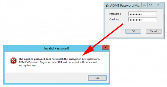 ADMT Error-supplied-password-does-not-match