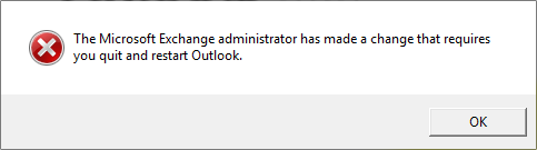 Requires you Quit and Restart Outlook