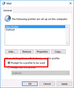 Outlook Prompt For Profile