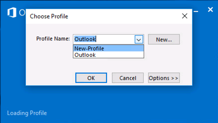 Choose Outlook Profile