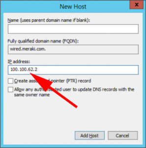 DNS A Record Meraki