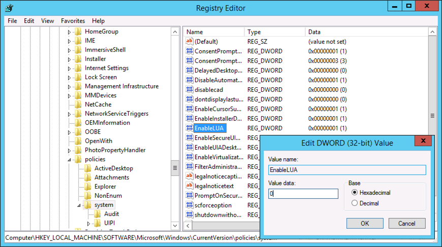 Windows Server – User Account Control Will Not Disable