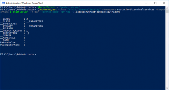 Disable NLA Though PowerShell Remotely