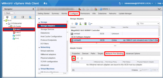 VMware add iSCSI Port Binding