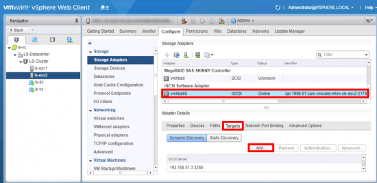 vCenter add iSCSI Target
