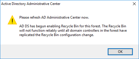 AD Recycle Bin Enable