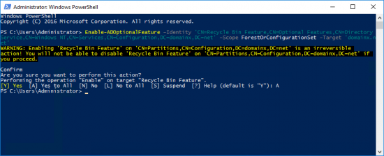 2016 PowerShell Enable AD Recycle Bin