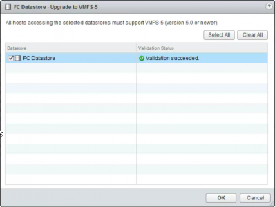 Upgrade VFMS3 volume to VMFS5