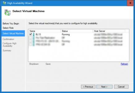 Cluster HA Wizard Add Virtual Machine