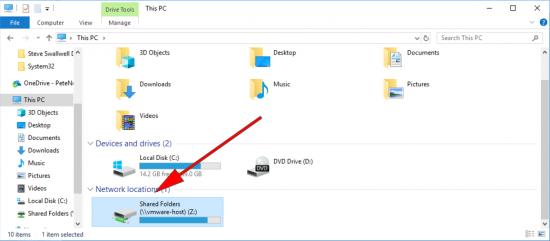 VMware Fusion Restore Windows shared Drive
