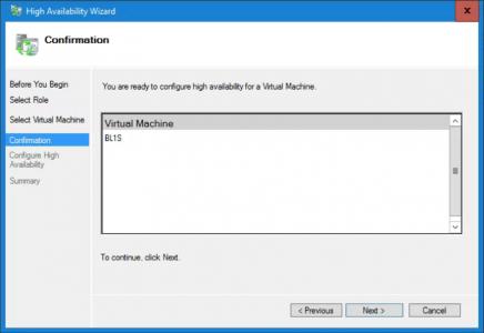 Cluster Wizard Add Virtual Machine Confirm