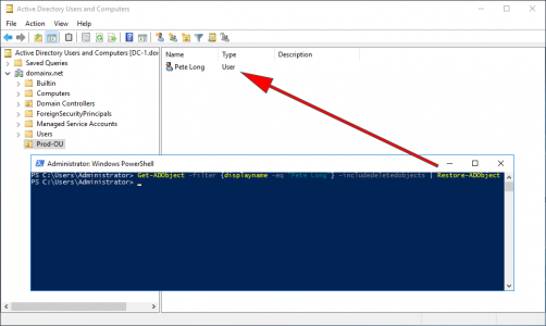 Recover AD user With PowerShell
