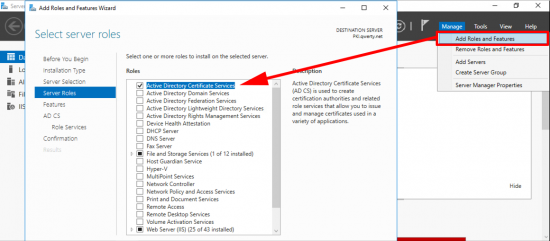 Install Certificate Services