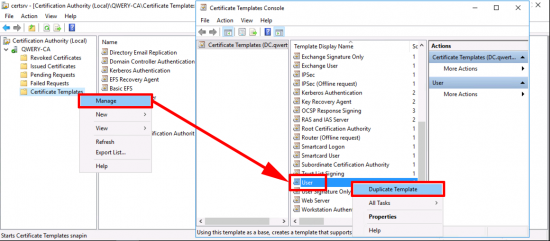 Duplicate User Certificate