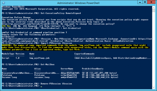PowerShell into Office 365 Exchange