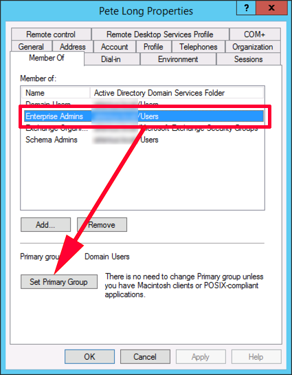 Set Primary Group Active Directory 35