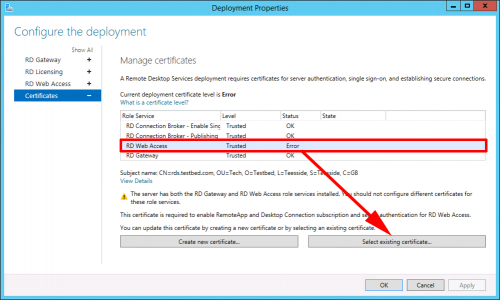 Set RD Web Certificate