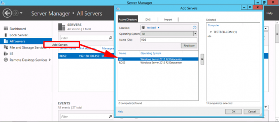 Add OLD Servers to New Server RDS Deployment
