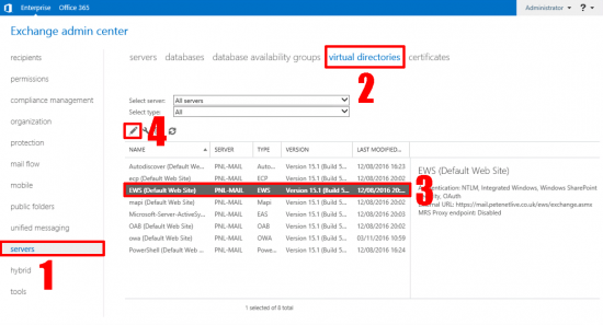 EWS Virtual Directory