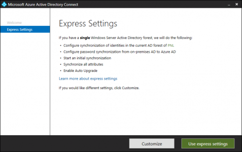 Azure AD Connect Express
