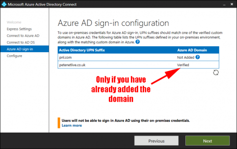 Azure AD Connect Sign In Config
