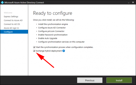 Azure AD Connect Exchange Hybrid