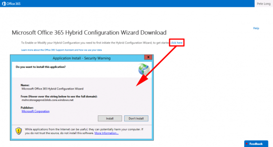 Launch Exchange Hybrid Wizard
