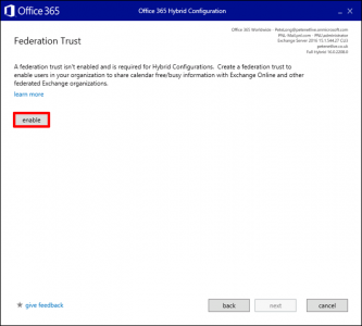 Office 365 Enable Federation Trust