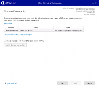 Office 365 Hybrid Verify Doamin Ownership