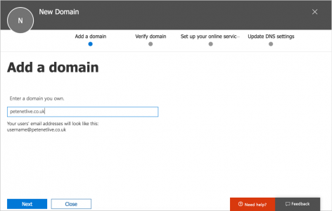 Office365 Add your domain