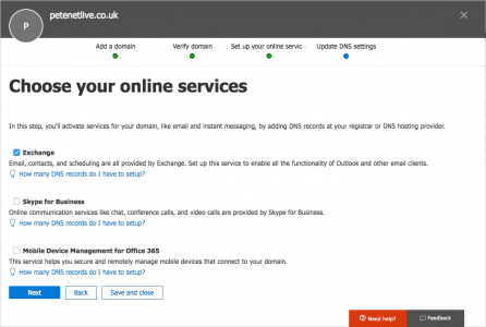 Office365 Manage DNS Settings