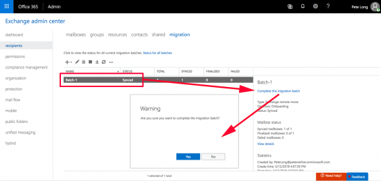 Office 365 Mailbox Migration Completion
