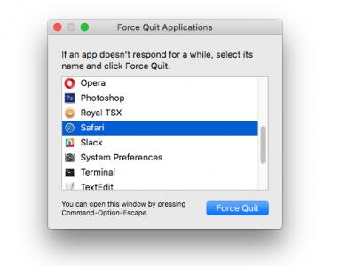 Force Quit Safari