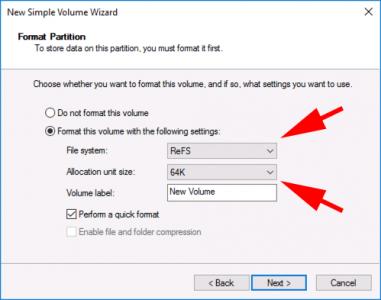 Server 2016 Create REFS Volume