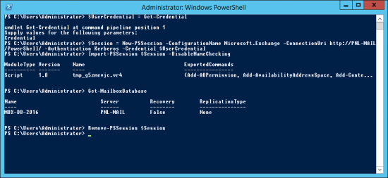PowerShell Remote Manage Exchange 2016