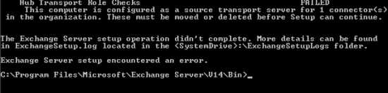 Uninstall Transport Role error connector