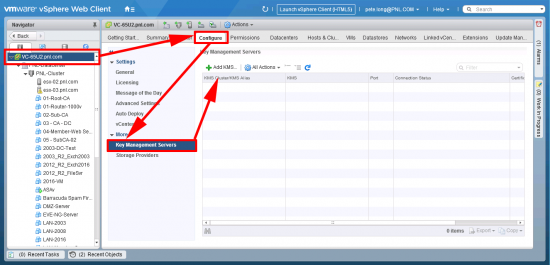 vSphere Add Key Management Server