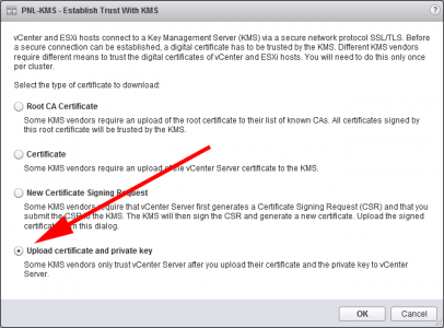 vCenter Upload KMS Certificate