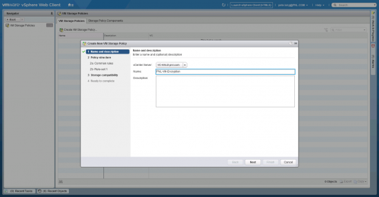 VMware Storage encryption policy