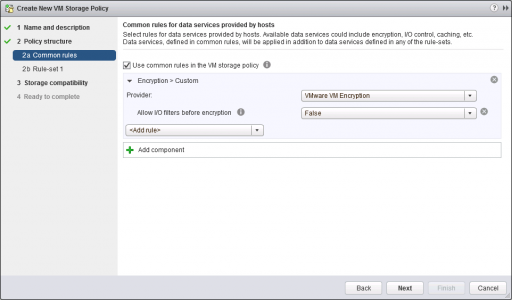 Encrpytion Policy Settings VMware