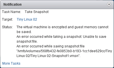 the virtual machine is encrypted snapshot error