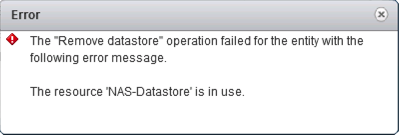 Operation Failed Datastore In Use