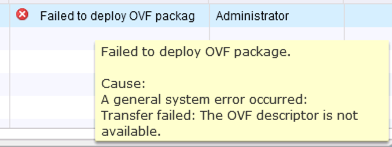 OVF Descriptor Is Not Available