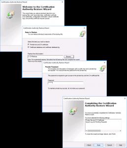 2016 Restore Windows CA Wizard